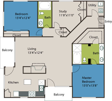 1,602 sq. ft. B5 floor plan