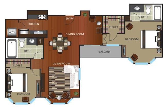 1,119 sq. ft. PNTHOUSE floor plan