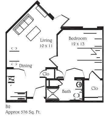 576 sq. ft. B2 floor plan