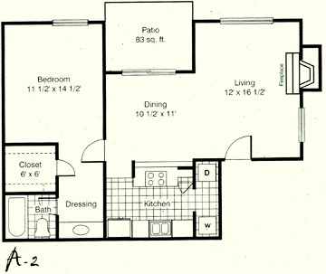 806 sq. ft. A2 floor plan