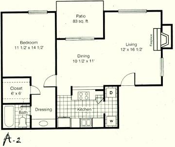 806 sq. ft. A2 floor plan