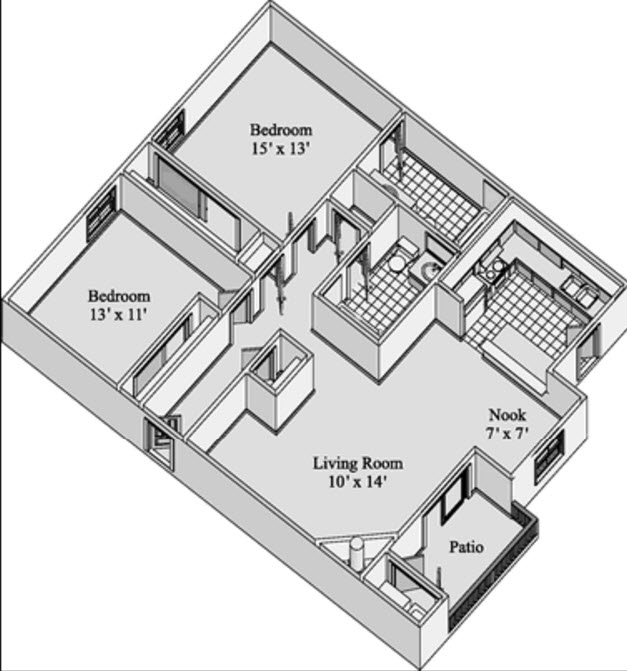 1,141 sq. ft. SIERRA floor plan