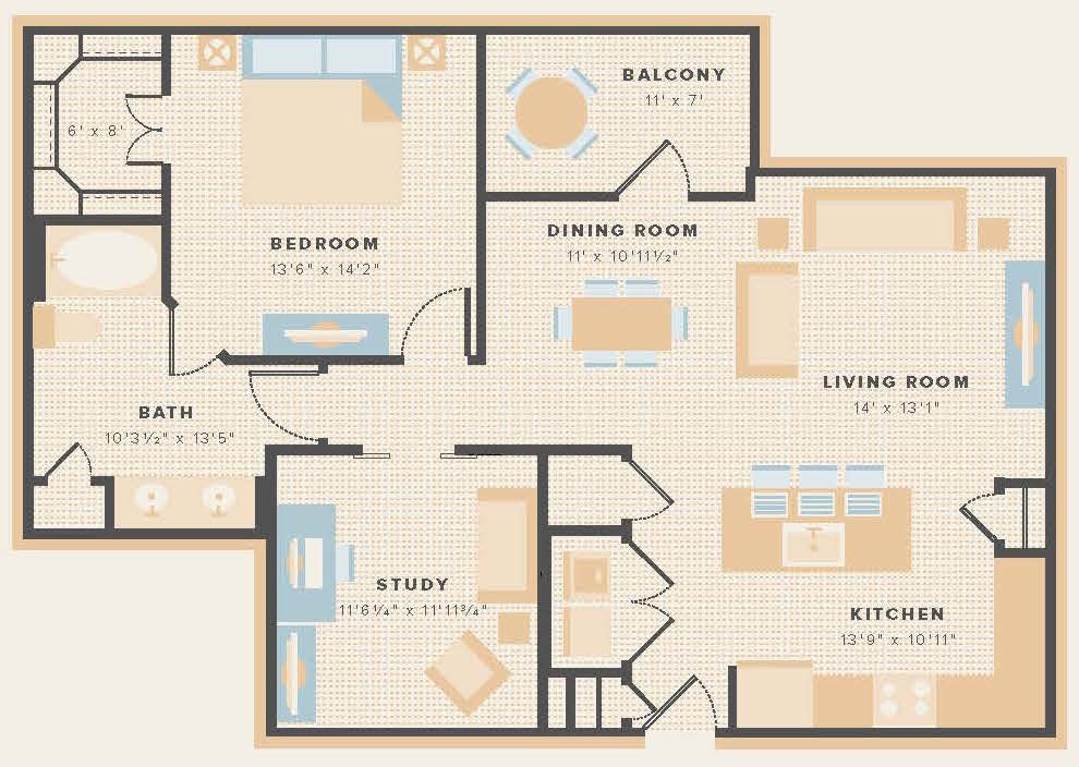 1,064 sq. ft. A8 floor plan