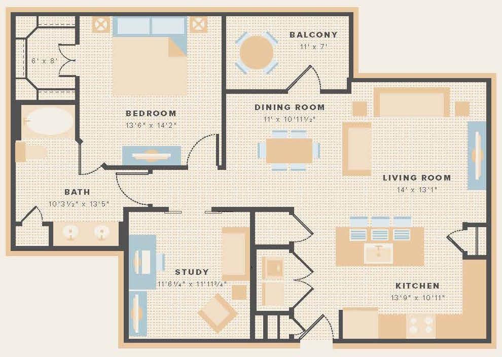 1,064 sq. ft. A8 floor plan