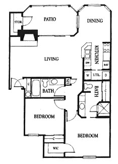 1,052 sq. ft. 2A floor plan