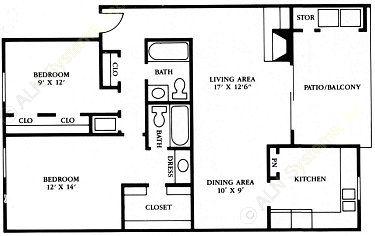 1,010 sq. ft. B4 floor plan