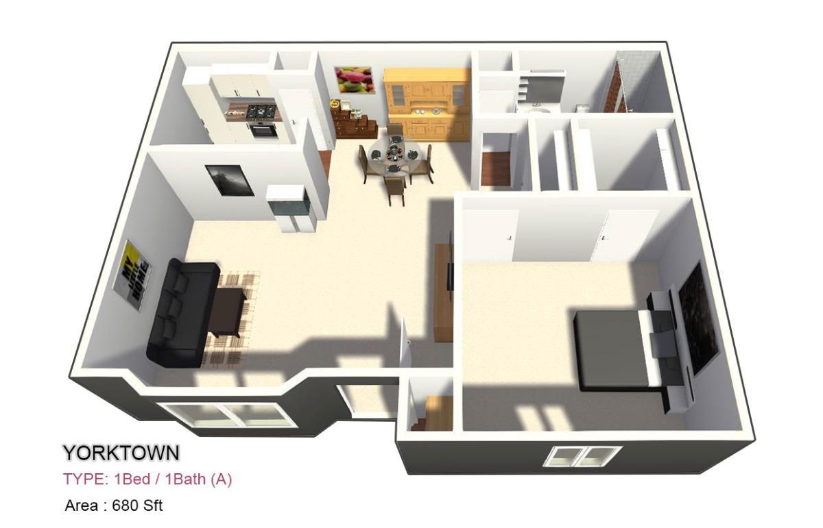 700 sq. ft. 1X1 floor plan