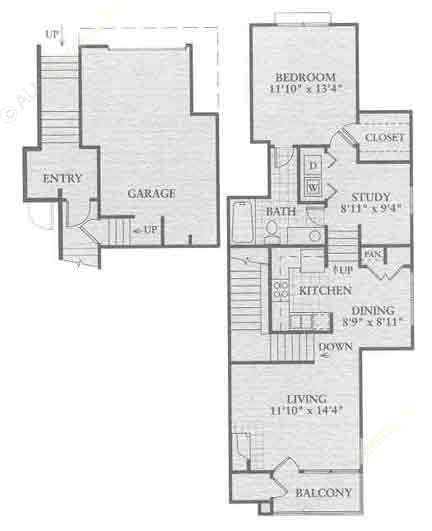 878 sq. ft. A2 floor plan