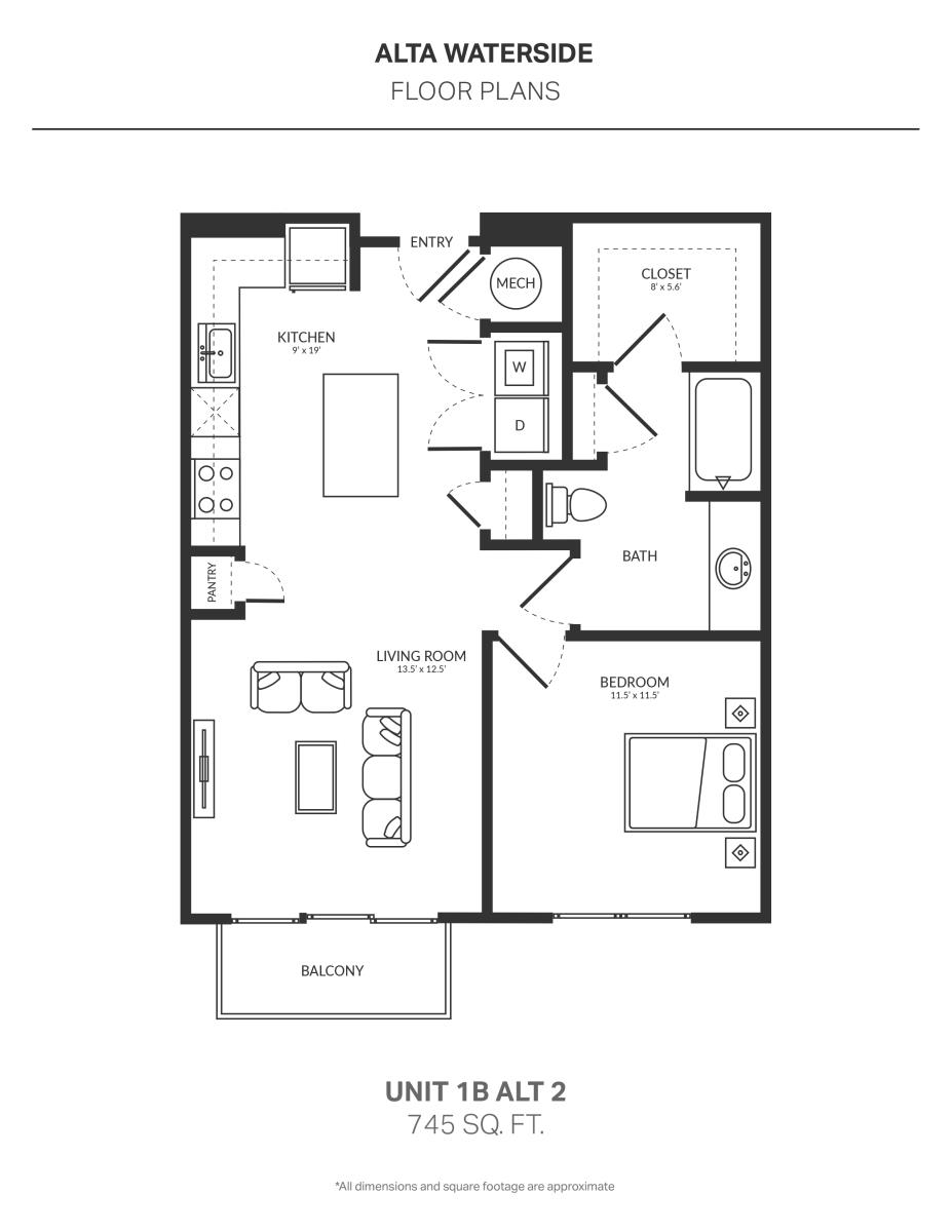 745 sq. ft. 1B Alt 2 floor plan
