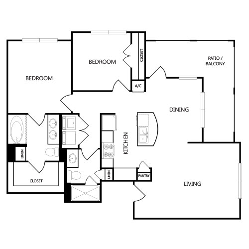 1,029 sq. ft. B1 floor plan