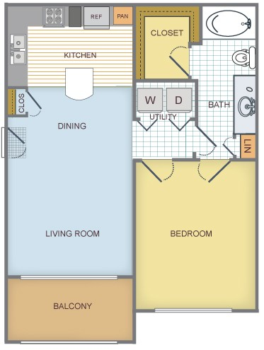 684 sq. ft. to 946 sq. ft. A/Aspen floor plan
