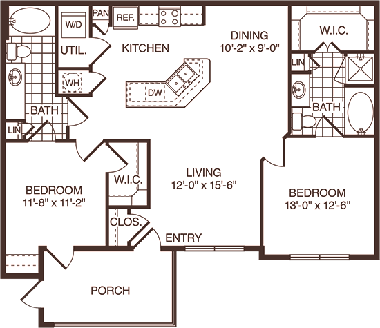 1,133 sq. ft. Cedar floor plan