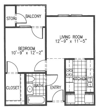 628 sq. ft. A1 floor plan