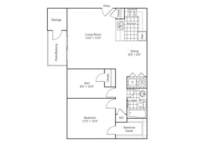 805 sq. ft. A2 floor plan