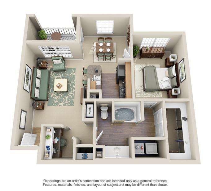 851 sq. ft. GROGANS floor plan