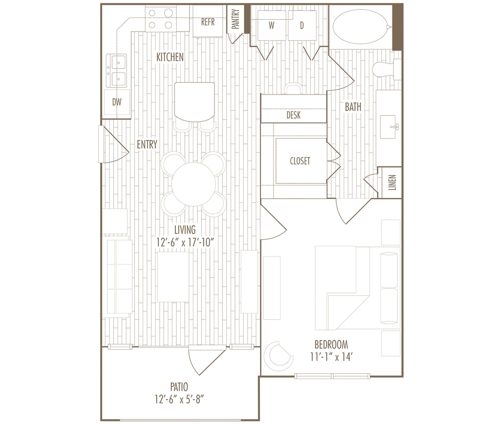 709 sq. ft. A1 floor plan