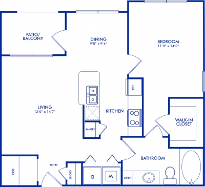 749 sq. ft. COLUMBIA floor plan