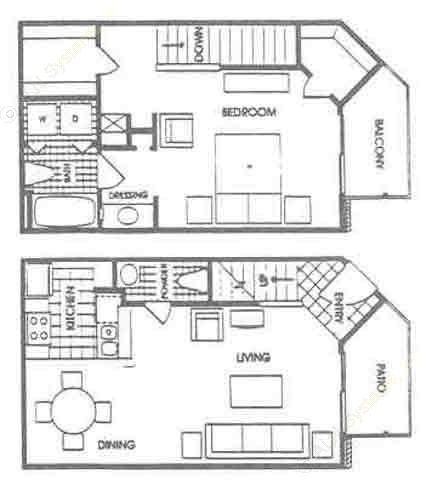 876 sq. ft. A5 floor plan