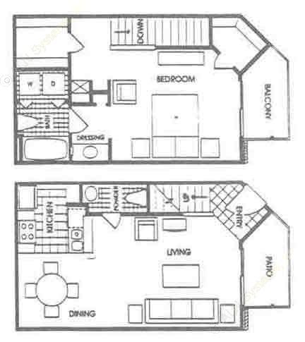 876 sq. ft. A5 floor plan