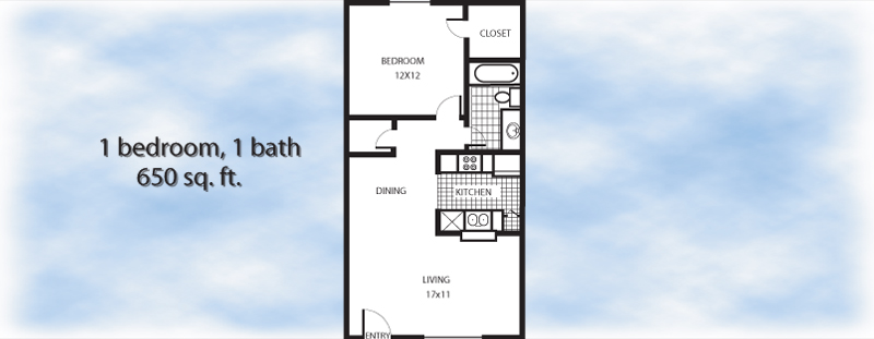 650 sq. ft. 1-1 floor plan