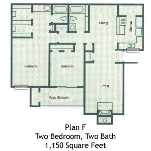 1,150 sq. ft. B4 floor plan