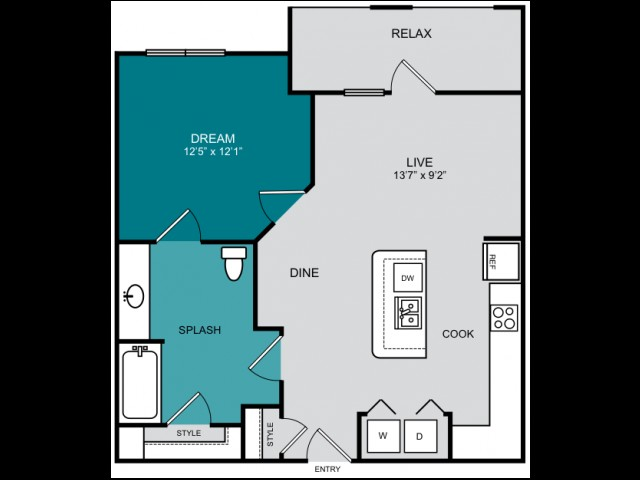 714 sq. ft. A2-1 PLATEAU floor plan