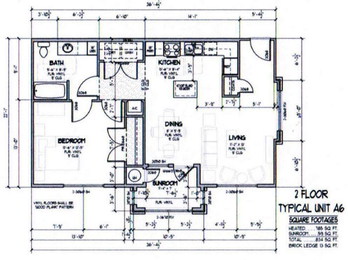 834 sq. ft. A6-30% floor plan