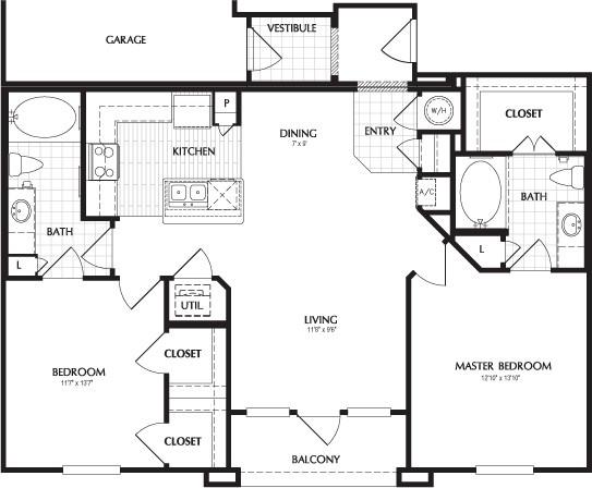 1,114 sq. ft. BELMONT/G floor plan