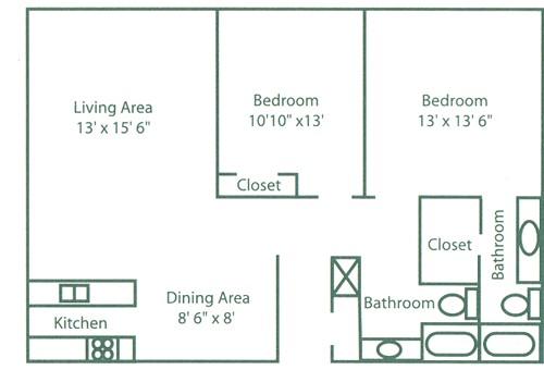 960 sq. ft. B3 floor plan