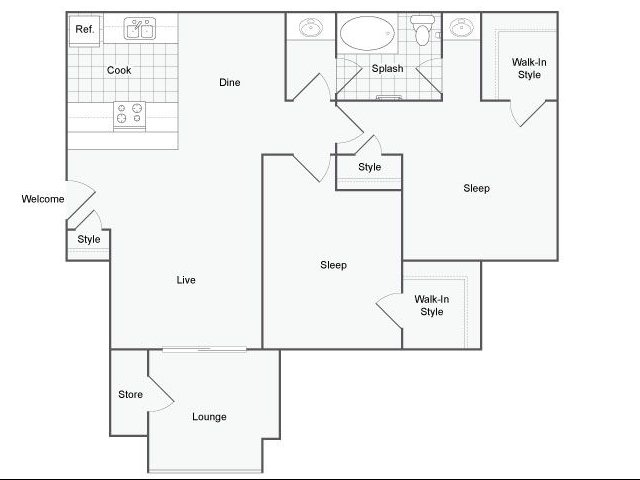 866 sq. ft. Carpi floor plan