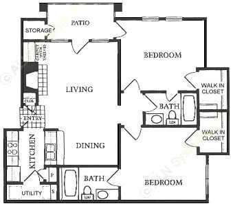 988 sq. ft. B2 floor plan
