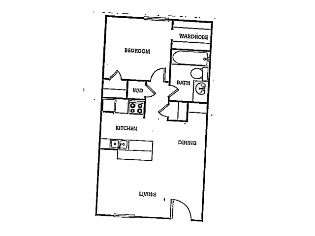 570 sq. ft. A5 floor plan