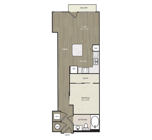 760 sq. ft. A23 floor plan