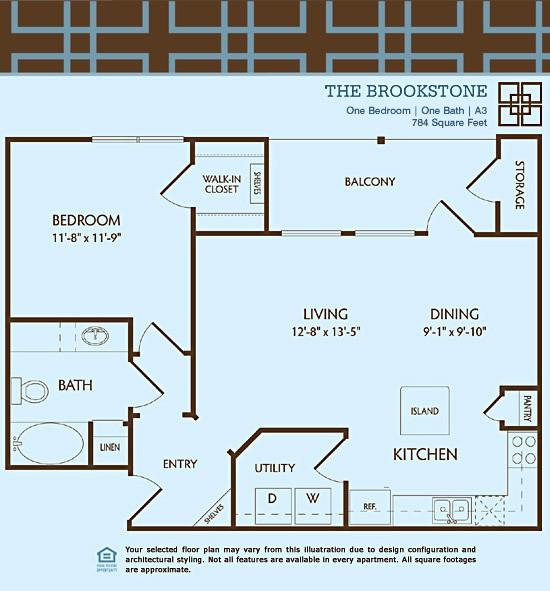 784 sq. ft. A3/BROOKSTONE floor plan