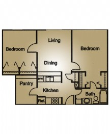 832 sq. ft. floor plan