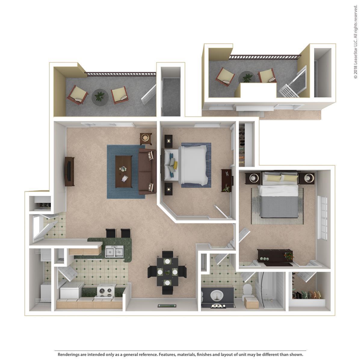 905 sq. ft. Newberry floor plan