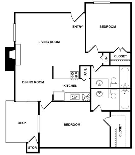 938 sq. ft. Odyssey floor plan