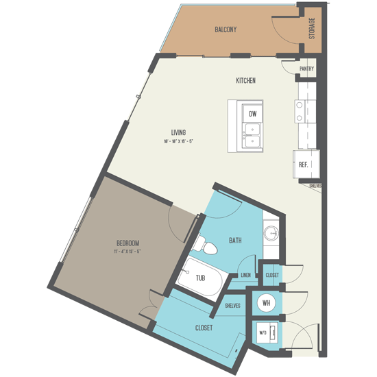 776 sq. ft. A7 floor plan