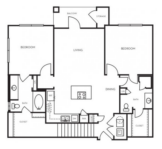 1,080 sq. ft. B1.3G floor plan