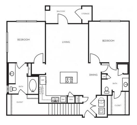 1,080 sq. ft. B1.3G floor plan