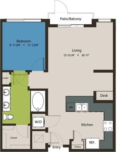 787 sq. ft. A8A floor plan