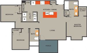 1,175 sq. ft. 60% floor plan