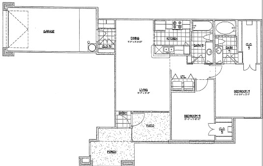 999 sq. ft. D1/60% floor plan