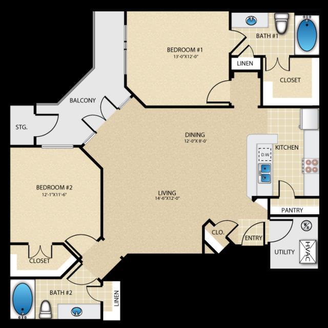 1,149 sq. ft. B2 floor plan