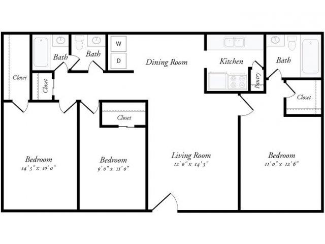 1,300 sq. ft. Tarragona floor plan