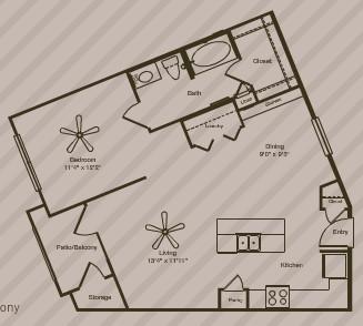 800 sq. ft. ASBURY floor plan