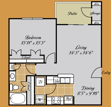 736 sq. ft. GIOVANNI floor plan