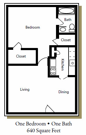 640 sq. ft. B floor plan