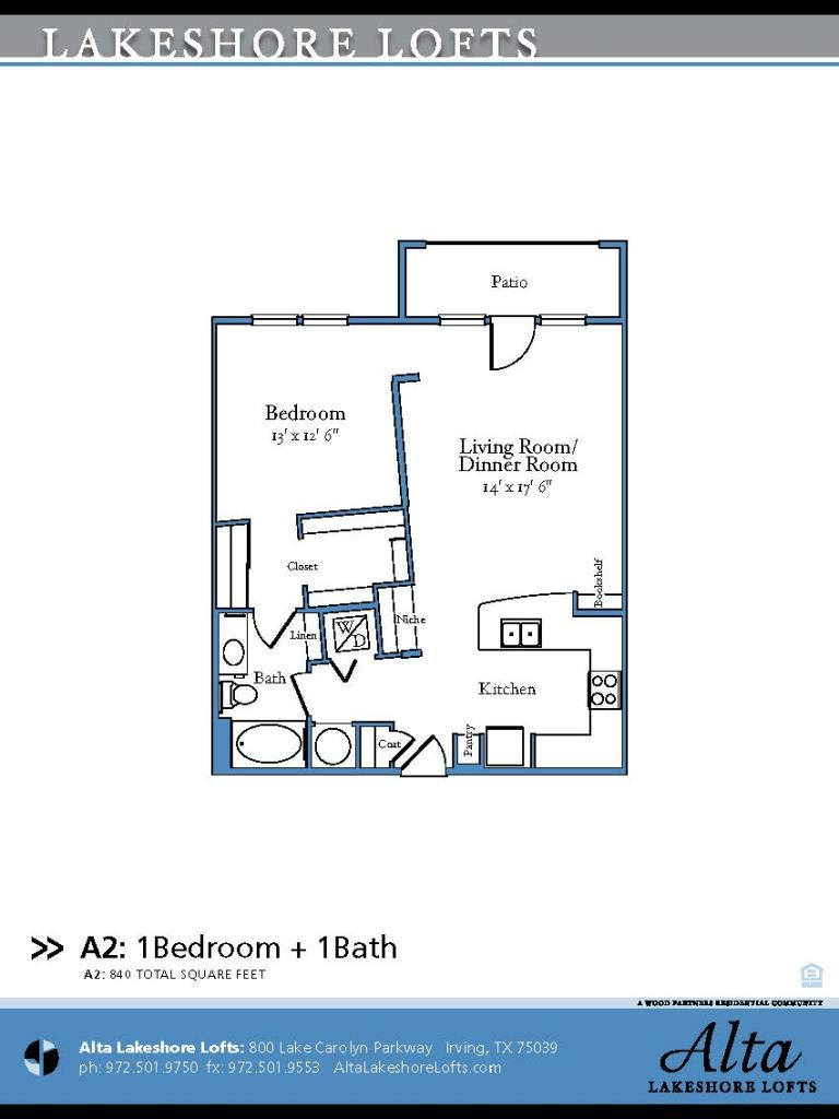 840 sq. ft. A2 floor plan