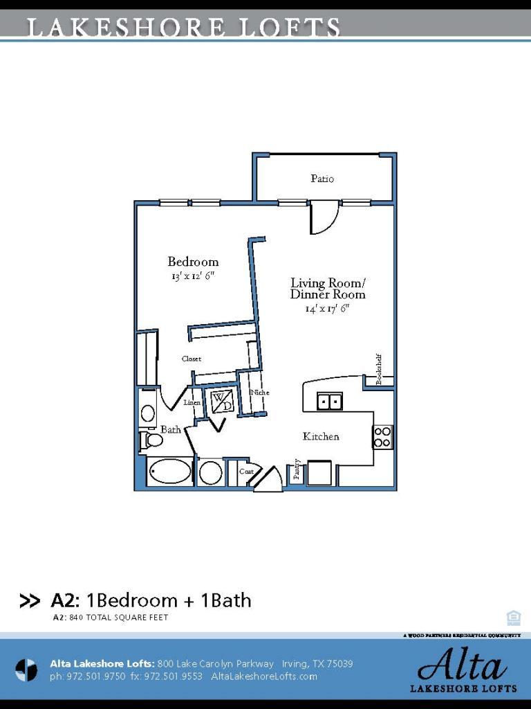 840 sq. ft. A2 floor plan
